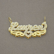 Solid 14k Gold 3d Double Plates Personalized Name Pendant Heart 2 Angel Wings