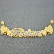 14k Gold Personalized 3d Double Plate Hearts Name Pendant Necklace Jewelry Nd41