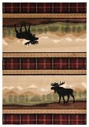 Moose Mountain Lodge Cabin Plaid Carved Area Rug Free Shipping