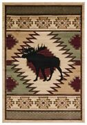 Moose Lodge Cabin Southwestern Carved Area Rug Free Shipping