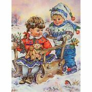 Diy Diamond Painting Children Snow Wooden Sleigh Design Embroidery Wall Displays