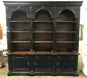 Handsome Distressed Black Carved Mahogany Georgian Bookcase Triple Arch