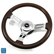 1967-1968 Chevy Cherry Wood Steering Wheel Chrome Spokes Bowtie Center Cap Kit