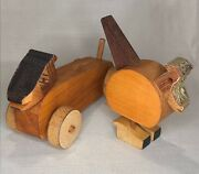 2 Primitive Hand Made Wooden Dog Bird Toys Sculptures With Crown Molding Heads