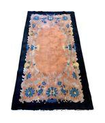 Extraordinary Asian Chinese Art Deco Hand Knotted Wool Rug Vivid Colors