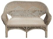 Antique Wicker Camelback Rocking Chair And Settee Love Seat Bench Rocker