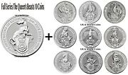 The Queenand039s Beasts Silver Bullion 2oz Coins Complete Series Lion To Greyhound