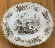 Enoch Wood And Son Pagoda Meat Carving Platter Large Transferware Vintage