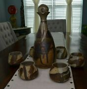 Blue Sky Pottery Decanter With Lid And Six Cups Browns And Tans Mint