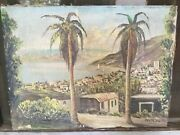 Antique Judaica Oil On Canvas Tiberias View Holy Land Painting M2246