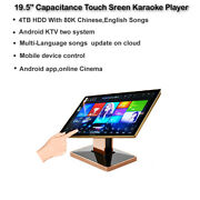 19.5'' Touch Screen Karaoke Player,4tb Hdd,80k Chinese,english Songs,dual System