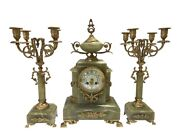 Early 20th Century Vintage Onyx And Bronze Clock Garniture And Candelabras 3pc