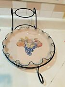 Home And Garden Party Ltd Stoneware Serving Tray/platter 2004 W/wrought Iron Caddy