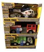 New Lot 3 Tonka Real Tough Rescue Force Helicopter Truck Firetruck Lights Sounds