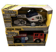 Brand New Lot 2 Tonka Real Tough Rescue Force Helicopter Firetruck Lights Sounds