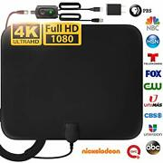 Amplified Digital Tv Antenna Long 120 Miles Range Signal Booster Adapter Cable