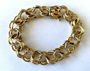 14k Solid Yellow Gold Heavy Double Link Bracelet 7.75and039and039 13 Mm