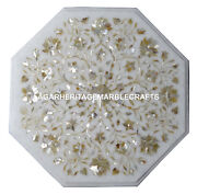36x36 White Marble Coffee Table Top Mother Of Pearl Art Home Decor H1271