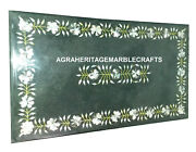 Green Dining Table With Marble Top Mosaic Malachite Inlay Occasional Decor H934