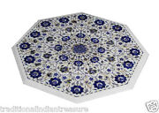 30 Marble Coffee Table Top Lapis Pauashell Inlaid Floral Art Special Home Decor