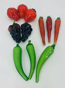 Mcm Murano Style Glass Fruit And Vegetables 11 Pieces Grapes, Carotts And Pepper