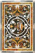 4and039x2and039 Exclusive Marble Dining Table Marquetry Inlay Collectible Home Decor H4675