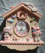 Sanrio My Melody And Piano Chan Wall Clock Home 26cm X 35cm Pink Used