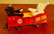 41220 Lgb Red Gondola With Two Steiff Bears. Made In Germany.