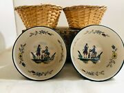 Set Of 2 Antique French Faience Hb Quimper Henriot Brittany Pottery W/basket