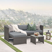 Patio Conversation Set Wicker Rattan Corner Sofa W/ Cushion And Table Brown And Grey