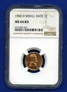 1960 D Ngc Ms64 Rd Small Date Lincoln Cent 1c - Filled R Light Strike Ms-64