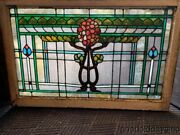 Beautiful Antique Stained Leaded Glass Transom Window 44 X 29