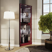 Woody Lighted Corner Curio Cabinet Tempered Glass Door 6 Shelves 2 Colors