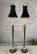 Vintage Pair Of Chelsea House - Table Lamps With Shades . 36-tall.