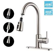 Kitchen Faucet Teccpo Single Handle High Arc Brushed Nickel Stainless Steel Fau