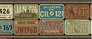 Us States Automobile Car License Plates Rustic Country Vintage Wallpaper Border
