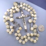 Exceptional Large Sterling Silver Mother Of Pearl Rosary Antique Cross