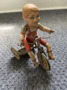 Vintage Kiddy Cyclist Tin Wind Up Toy - Unique Art Mfg. Co. Antique