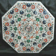 36 White Marble Dining Outdoor Table Top Multi Marquetry Inlay Art Decor H3409a