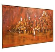 Early Mid Century Modern Original Painting Xl Artist Signed Abstract