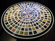 36 Attractive Marble Round Dining Top Table Multi Inlay Art Garden Decor H4707b