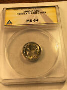1983 P Heavily Clashed Dies Anacs Ms64 Roosevelt Dime Error