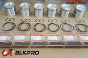 6 Pistons And Piston Ring Set For Isb Qsb 6.7l Cummins 24v Case 4934860andnbsp4955160