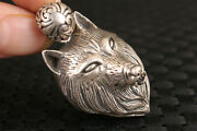 S925 Solid Silver Hand Carved Wolf Statue Pendant Netsuke Necklace Art