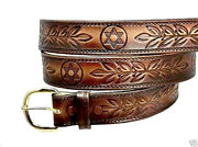 Flag Of Israel Jewish Magen Star Of David Leather Belt W Buckle Made In Usa