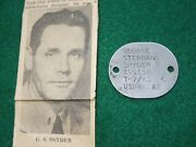 Wwii Us Navy Destroyer Greyhound Officer Dog Tag And Newspaper Clipping New York