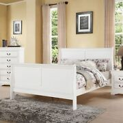 Benzara Classy Transitional Style Queen Size Sleigh Bed White