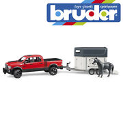Bruder Ram 2500 Power Wagon 4x4 Truck And Horse Trailer Kids Toy Model Scale 116