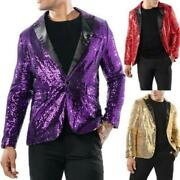 Nightclub Mens One Button V Neck Paillette Straight Night Club Suit Coat Sequins