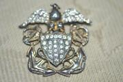 Antique Sterling Military Navy Anchor Eagle Lg.pin W Original Rhinestones Wwii